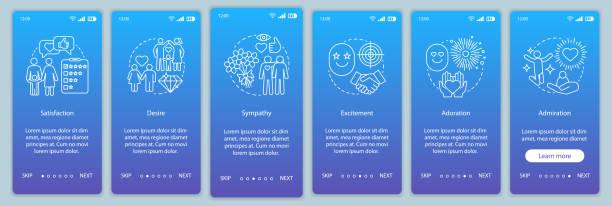 ilustrações de stock, clip art, desenhos animados e ícones de relationship feelings onboarding mobile app page screen vector template - bills couple