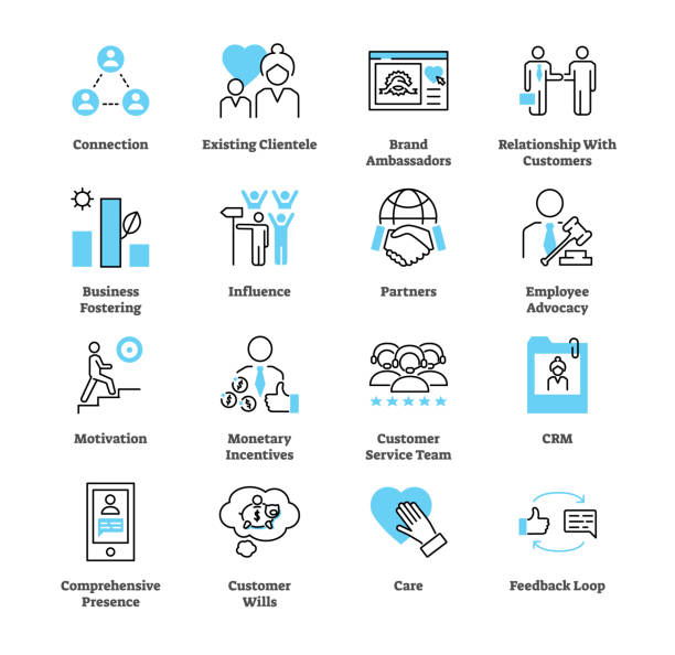 Relationship marketing icon collection set. Business commercial strategy. vector art illustration