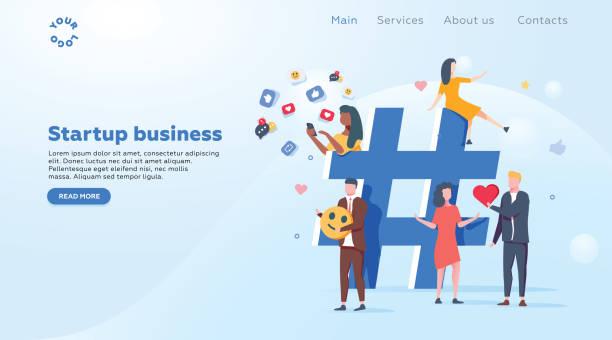 リレーションシップ、オンライン デートやソーシャルネットワー キングのコンセプト - ソーシャル メディアのプラットフォームを介して情報を共有する人々。 ベクターアートイラスト