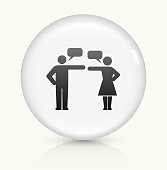 Relationship Problems icon on white round vector button