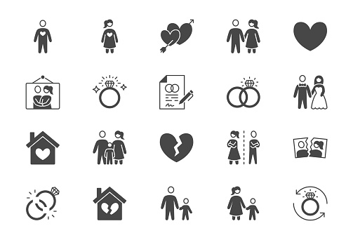 Relationship status glyph flat icons. Vector illustration include icon - husband, bachelor, wife, marriage, rings, divorce, wedding silhouette pictogram for marital condition