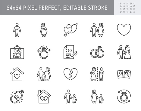 Relationship status line icons. Vector illustration include icon - husband, bachelor, wife, marriage, rings, wedding outline pictogram for marital condition. 64x64 Pixel Perfect, Editable Stroke