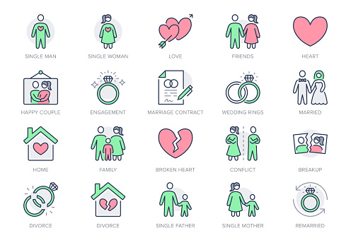 Relationship status line icons. Vector illustration include icon - husband, , wife, marriage, rings, divorce, wedding outline pictogram for marital condition. Green and Red Color, Editable Stroke
