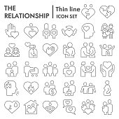 Relationship thin line icon set. People connection collection, vector sketches, logo illustrations, web symbols, outline style pictograms package isolated on white background. Vector graphics