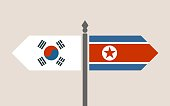 Image relative to politic situation between South Korea and North Korea. National flags on destination arrow road