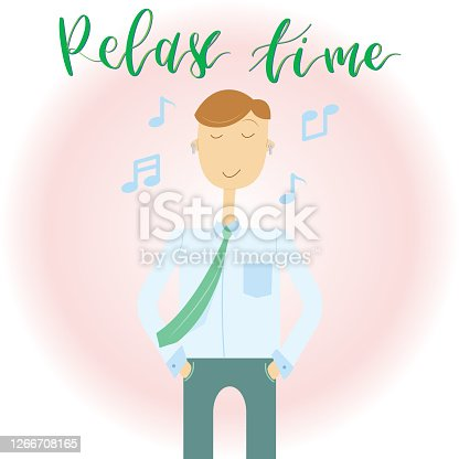 istock Relax Business Man with Calligraphy Text Vector 1266708165