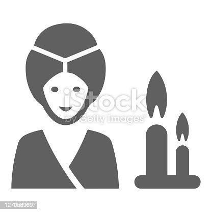 istock Relax, spa, woman icon. Gray vector isolated on a white background 1270589697