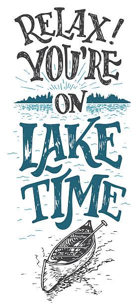 ilustraciones, imágenes clip art, dibujos animados e iconos de stock de disfrute de su estadía en lago clima decoración de señal - lago