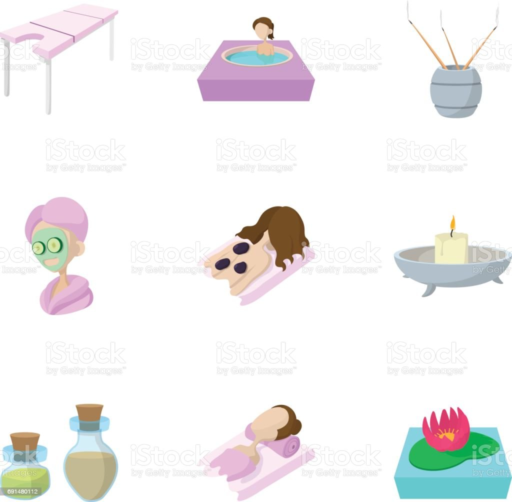 Relaxation icons set, cartoon style vector art illustration