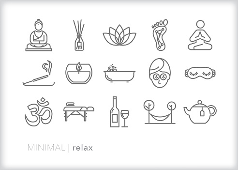 Set of 15 gray line icons of ways to relax and reduce stress including reflexology, incense, massage, facial, meditation, bubble bath, wine, hammock and other self care items