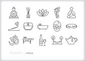 Relaxation line icons for self care, meditation and reducing stress