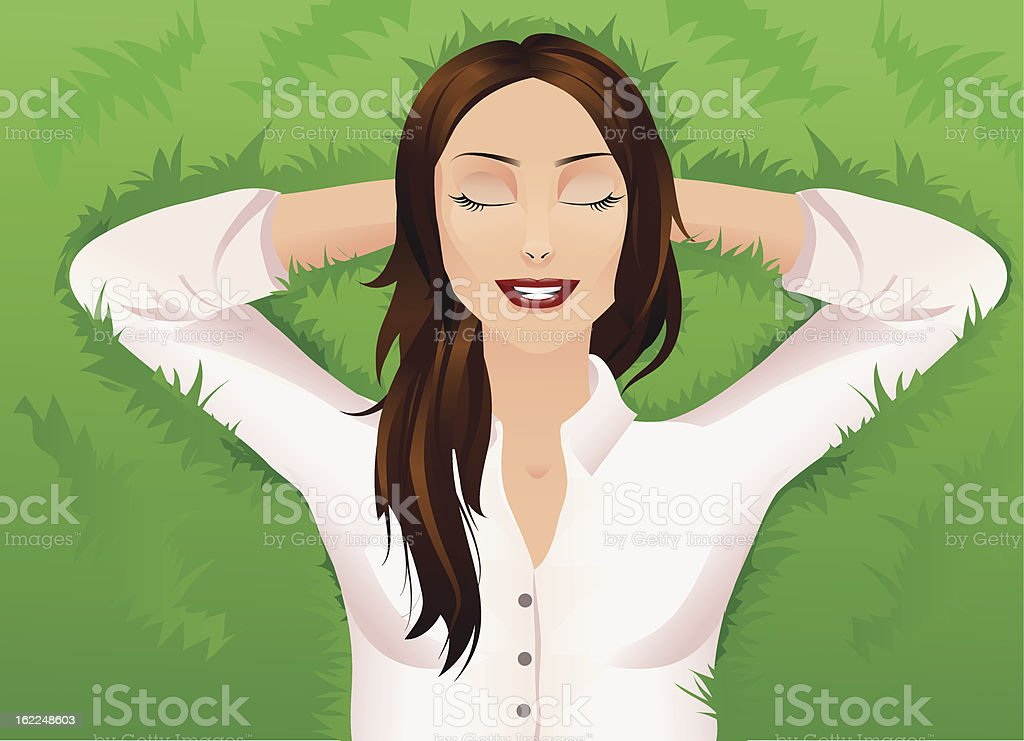 Relaxation on the grass royalty-free stock vector art
