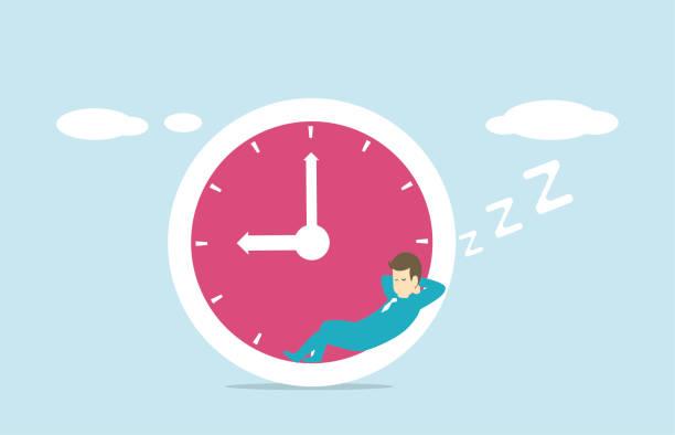 ilustraciones, imágenes clip art, dibujos animados e iconos de stock de relajación - wall clock