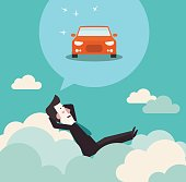 Relaxed and successful business man relaxing on clouds and dreaming about car. Saving and investing money. Future financial planning concept