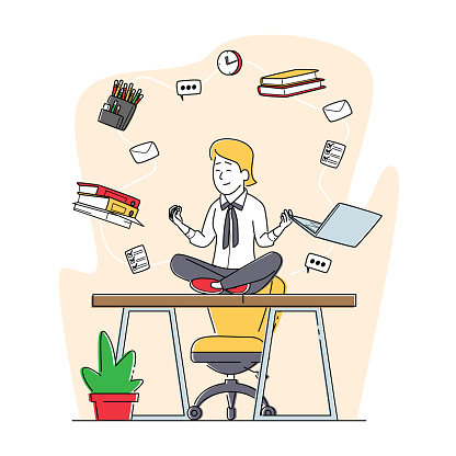 Relaxed Businesswoman Doing Yoga Meditation in Lotus Pose in Office Workplace Sit at Desk with Flying Stationery in Air