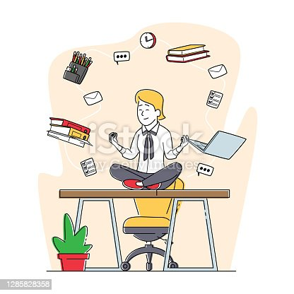 istock Relaxed Businesswoman Doing Yoga Meditation in Lotus Pose in Office Workplace Sit at Desk with Flying Stationery in Air 1285828358