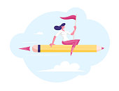 Relaxed Businesswoman with Red Flag in Hand Flying on Huge Pen like on Rocket Engine to Success. Business Competition, Leadership, Creative Idea Project Concept. Cartoon Flat Vector Illustration