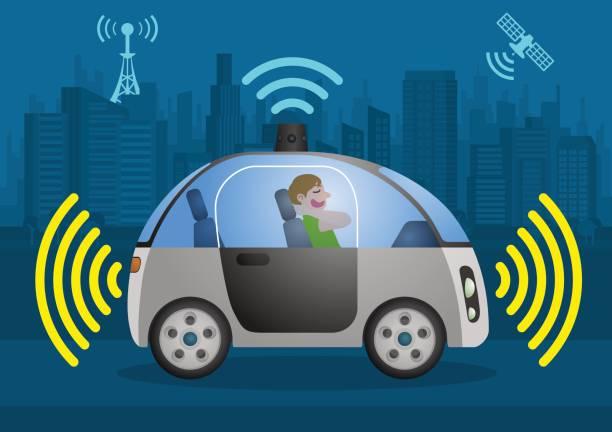 自律走行車、ベクトル図、センサーと無線通信車を運転している自己でリラックスしたドライバー - 自動運転車点のイラスト素材/クリップアート素材/マンガ素材/アイコン素材