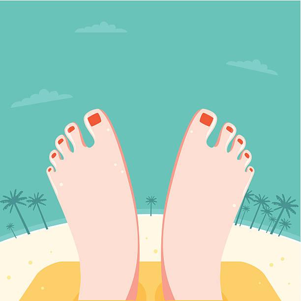 entspannte füße am strand - möbelfüße stock-grafiken, -clipart, -cartoons und -symbole