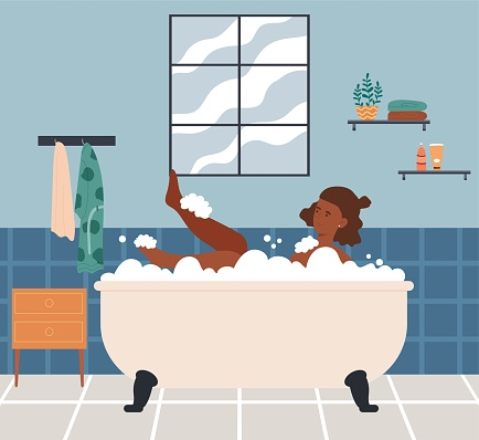 Relaxed female character is taking a bath