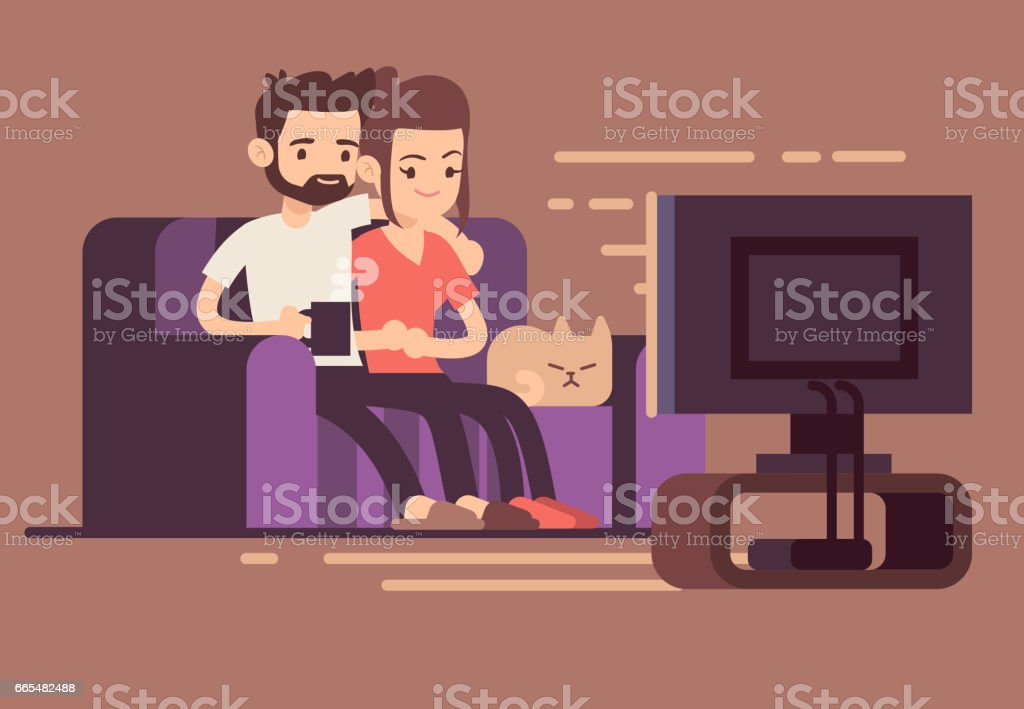 Relaxed happy young couple watching tv at home in living room Relaxed happy young couple watching tv at home in living room. Couple woman and man on sofa with cat, illustration of young couple watch tv Adult stock vector