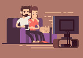 Relaxed happy young couple watching tv at home in living room. Couple woman and man on sofa with cat, illustration of young couple watch tv