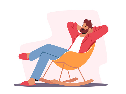 Relaxed Male Character in Home Clothes and Slippers Sitting in Comfortable Chair Yawning, Man Leisure at Home after Work