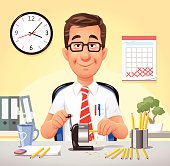 Vector illustration of a relaxed smiling office worker sitting at his desk sharpening pencils. On the wall in the background are a calender and a clock. Concept for relaxation, day dreaming or lazyness at work.