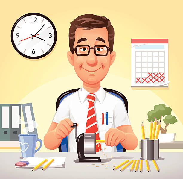 relaxed office worker sharpening pencils - accountant stock illustrations, clip art, cartoons, & icons