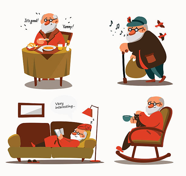 relaxed senior expressing positivity and satisfaction - old man in rocking chair silhouette stock illustrations, clip art, cartoons, & icons