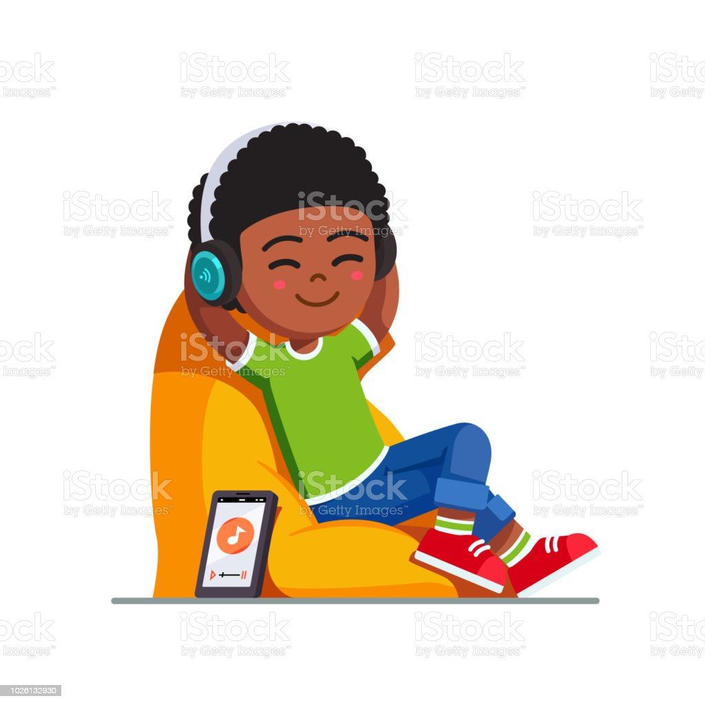 Relaxed smiling boy kid listening to music with wireless headphones using mobile app sitting on bean bag chair. Child cartoon character flat vector clipart illustration. vector art illustration