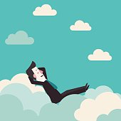 Relaxed, successful happy business man relaxing on clouds concept design