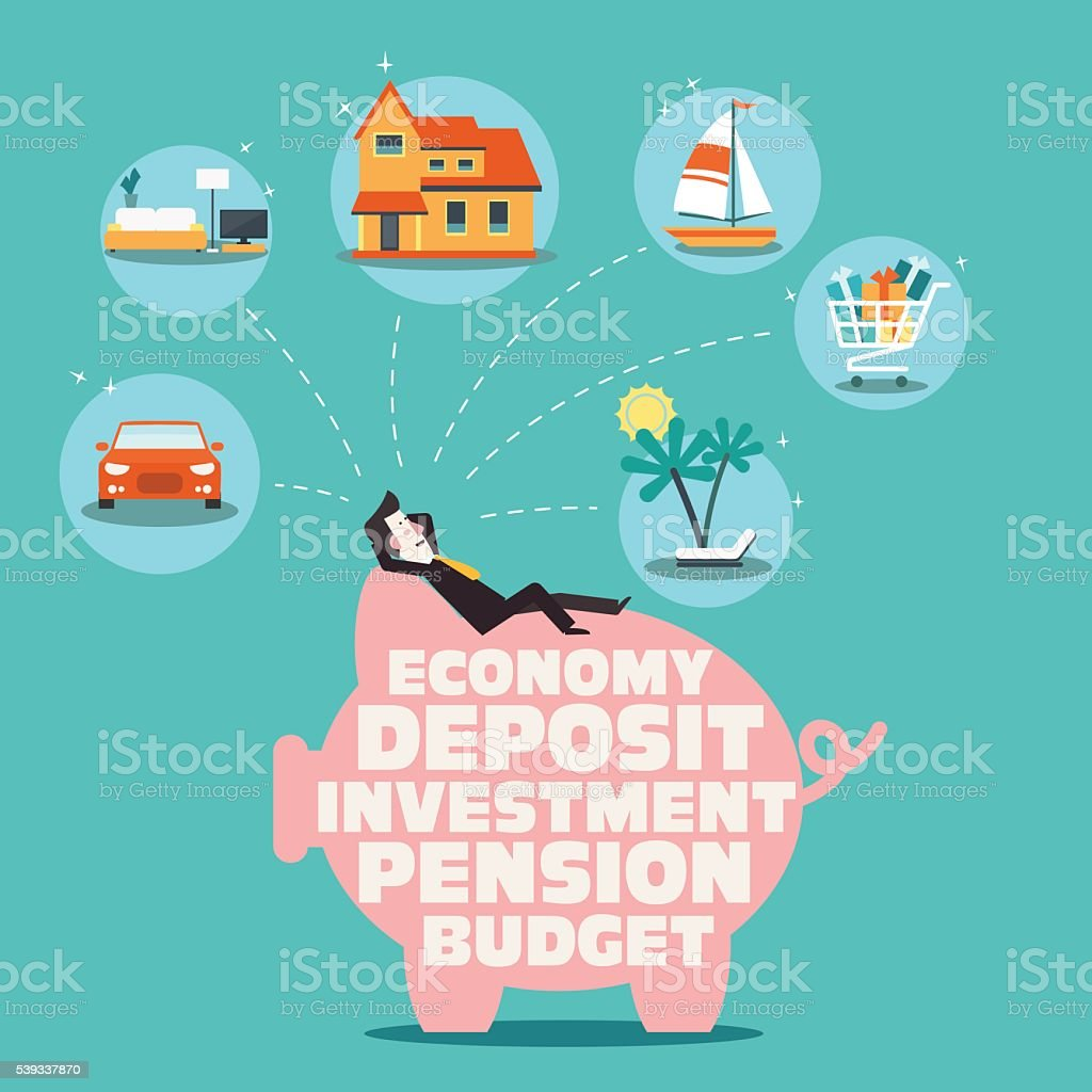 Relaxed, successful, smiling businessman lying on a piggy bank vector art illustration