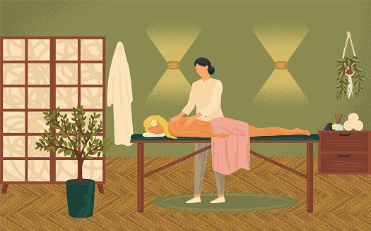 Relaxed woman getting thai massage in wellness spa concept vector illustration. Massage therapy and body treatment poster