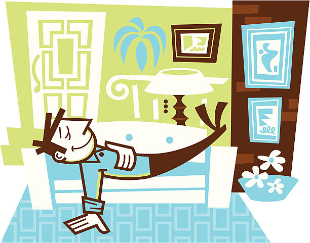 relaxing at home - peter bajohr stock illustrations, clip art, cartoons, & icons