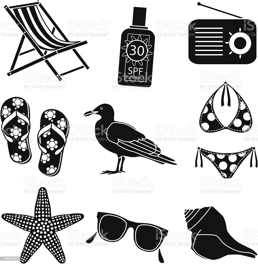 relaxing at the beach icons vector art illustration