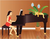 Young woman playing a baby grand piano while her cat takes a nap. File is conveniently grouped and  layered for ease of editing. File contains simple gradients and flat color, no mesh.