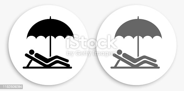 Relaxing Black and White Round Icon. This 100% royalty free vector illustration is featuring a round button with a drop shadow and the main icon is depicted in black and in grey for a roll-over effect.