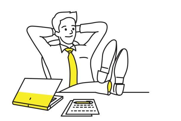 geschäftsmann am arbeitsplatz entspannen - möbelfüße stock-grafiken, -clipart, -cartoons und -symbole