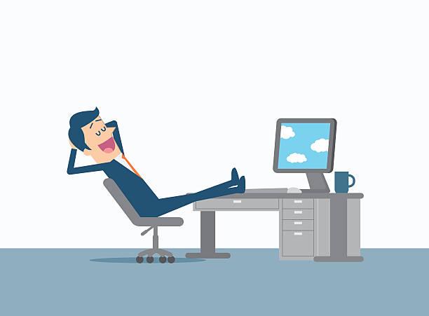 Relaxing businessman vector art illustration