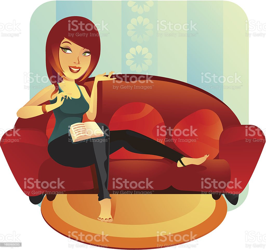 Relaxing Fitness Woman vector art illustration