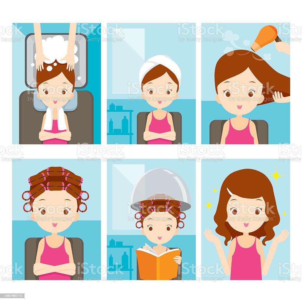 Relaxing girl in hair salon set vector art illustration