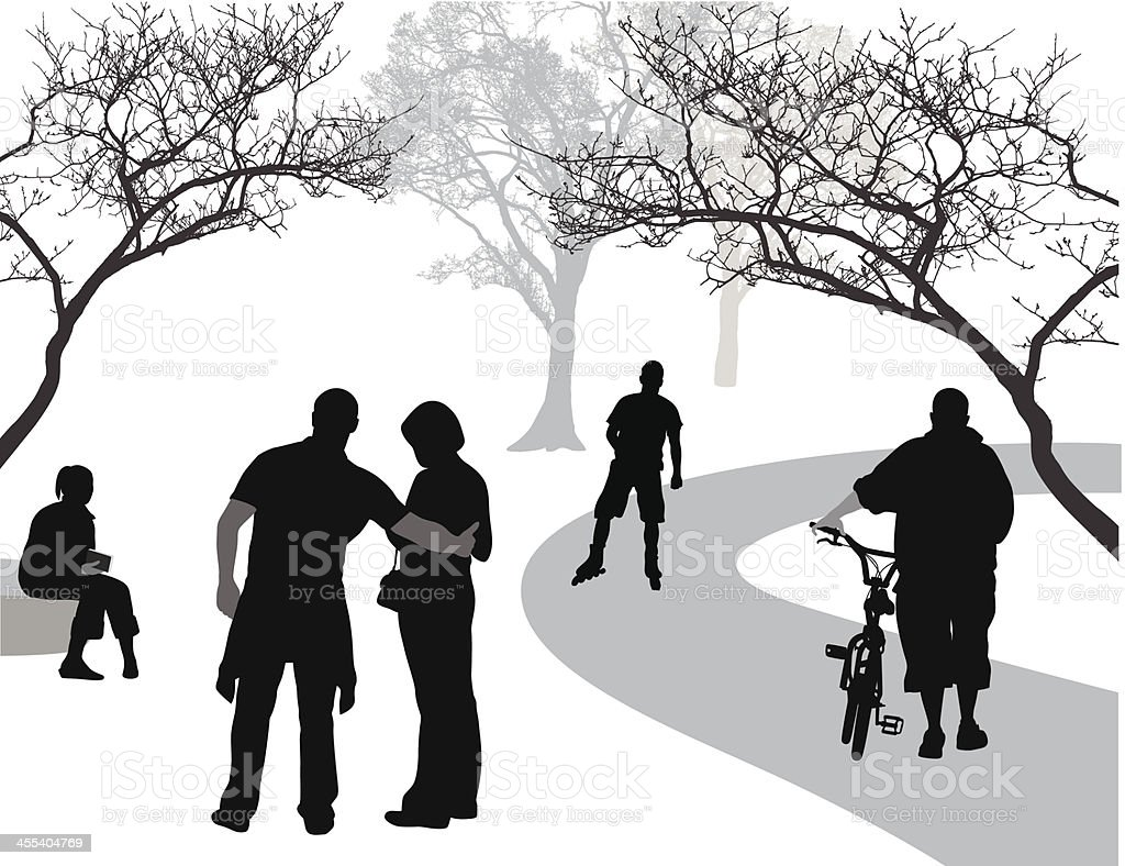 Relaxing In The Park Vector Silhouette vector art illustration