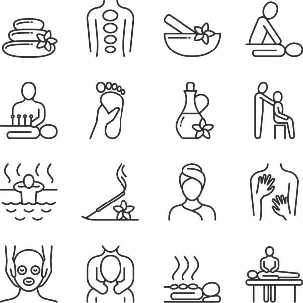 bildbanksillustrationer, clip art samt tecknat material och ikoner med avslappnande massage och ekologiska spa line piktogram. hand therapy vektor ikoner - spa