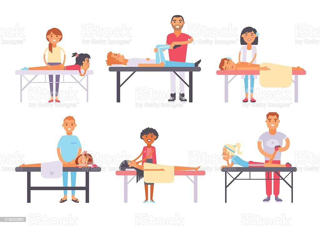 Relaxing people massage different spa heath care vector vector art illustration