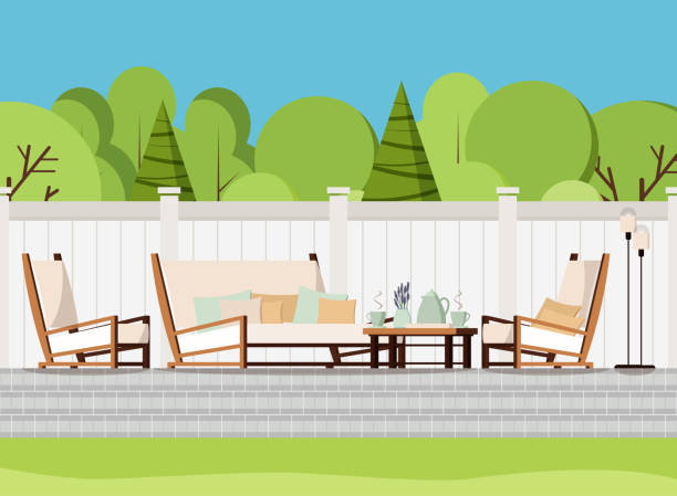 Relaxing porch zone private backyard patio retreat with outdoor country soft sofa, table with cups of tea and flowers, armchairs and lamps Relaxing porch zone private backyard patio retreat with outdoor country soft sofa, table with cups of tea and flowers, armchairs and lamps. Flat cartoon style vector background scene illustration. patio stock illustrations