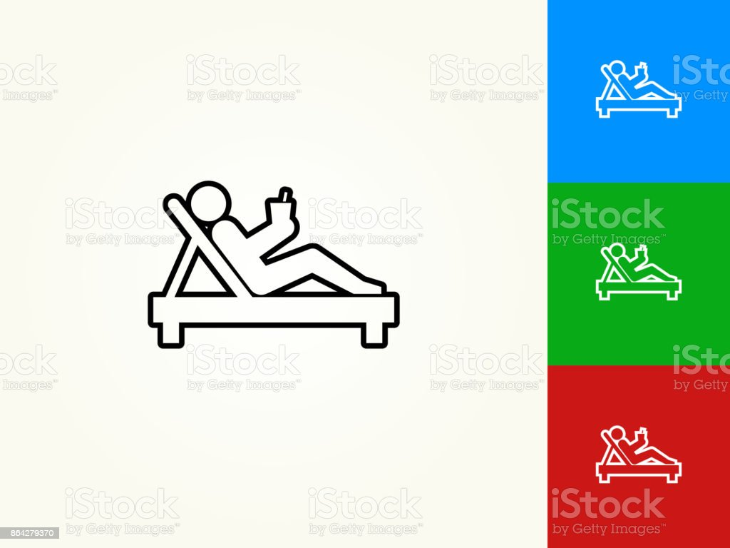 Relaxing Stick Figure Black Stroke Linear Icon royalty-free relaxing stick figure black stroke linear icon stock vector art & more images of beach