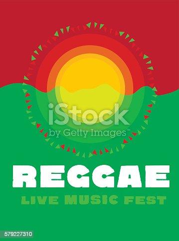 istock relaxing travel poster in reggae music color. Jamaica tribal sim 579227310