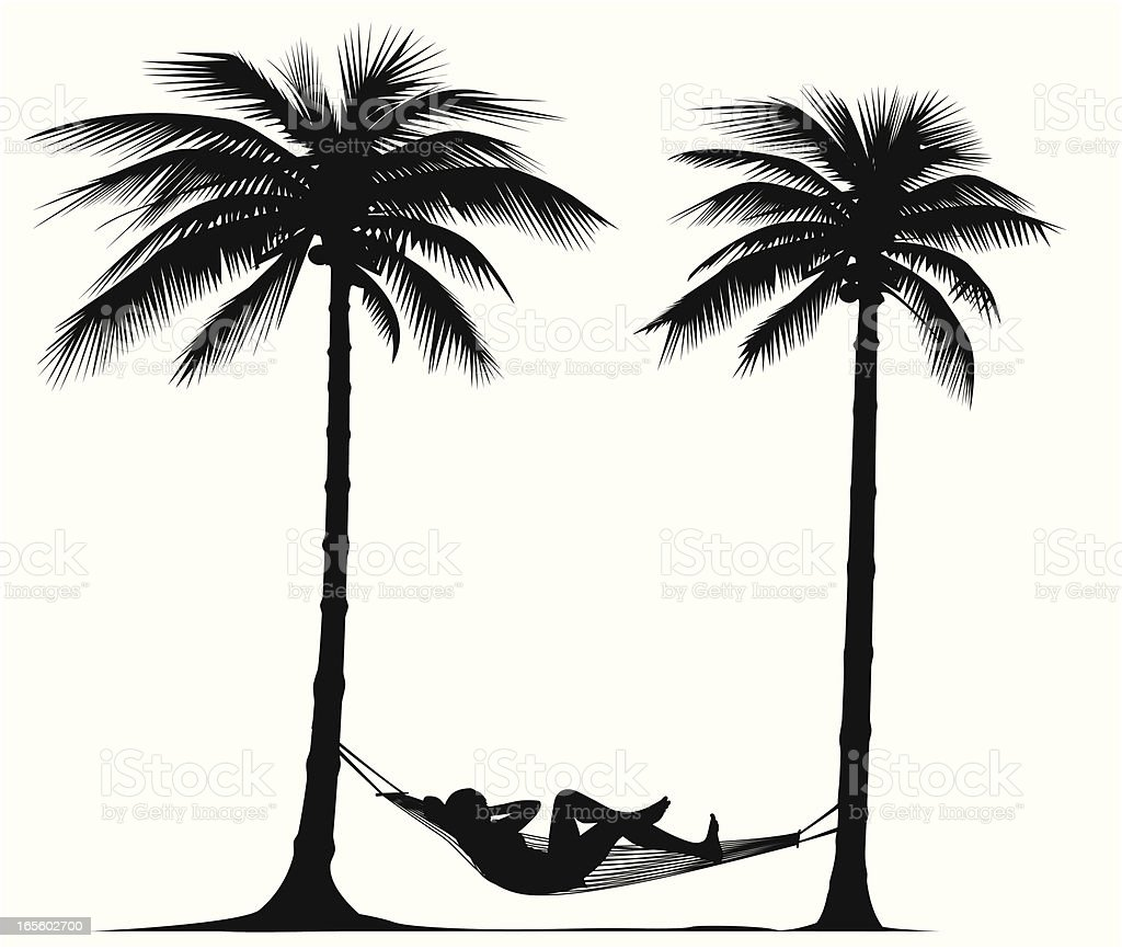 Relaxing under palm trees - VECTOR royalty-free stock vector art