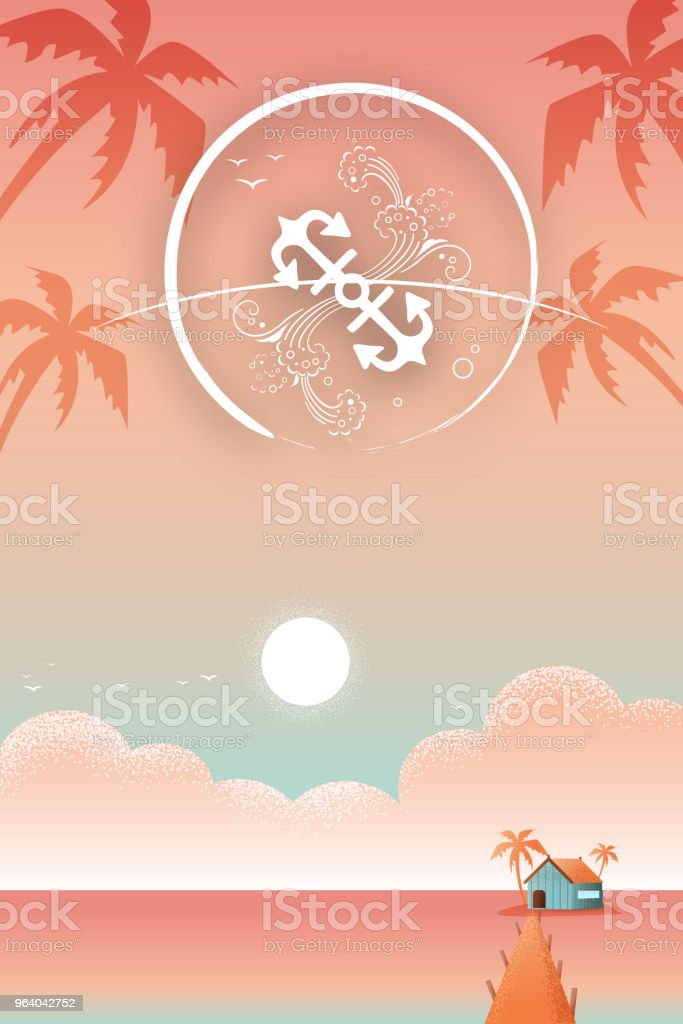 A relaxing vacation house at the beach - Royalty-free Backgrounds stock vector